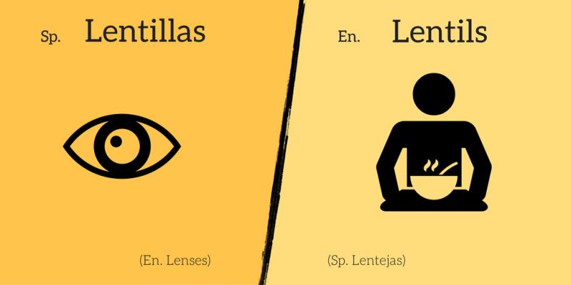False friend: Lentillas ≠ Lentils