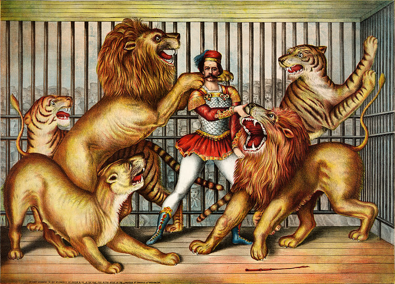 Lion tamer taking risks and making a mistake