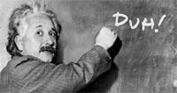 Einstein writing on chalk board, representing smart multilinguals